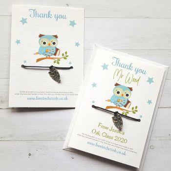 Owl Charm - Blue Design - Teacher Wish Bracelet (Personalised Option)