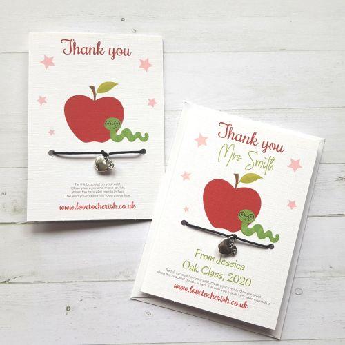Apple Charm Teacher Wish Bracelet