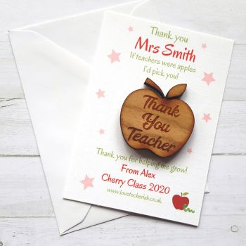 Thank You Teacher Apple Wooden Keepsake/Token with Personalised Gift Card