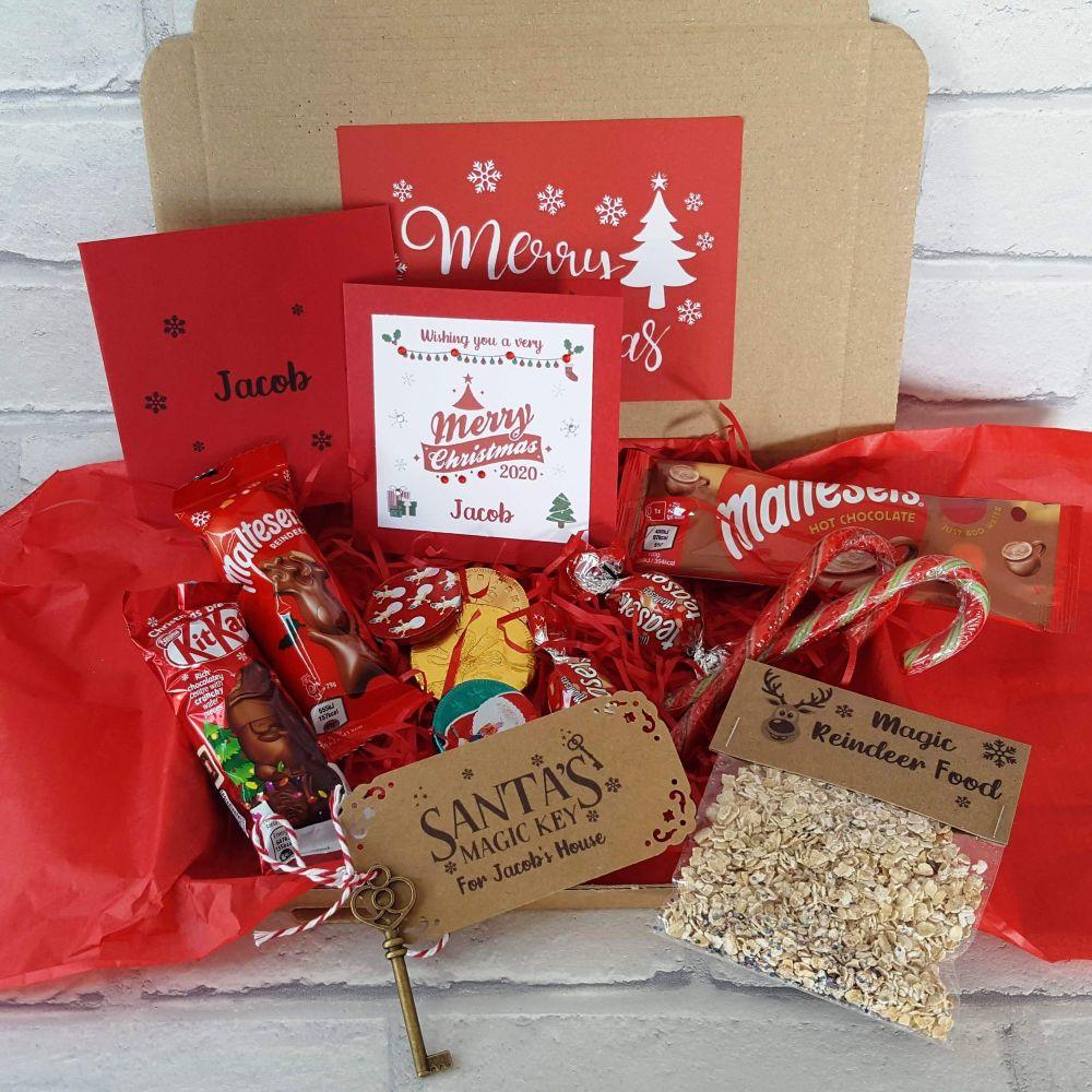 Christmas Mini Treat Box - Personalised Card & Santa Key- Letterbox Gift