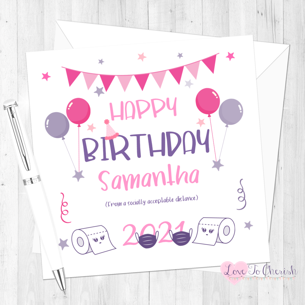 Social Distance Personalised Happy Birthday Card for Her