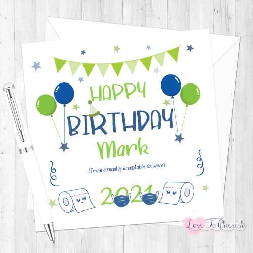 Social Distance Personalised Happy Birthday Card for Him