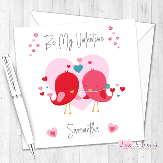 Love Birds Personalised Valentine's Day Card