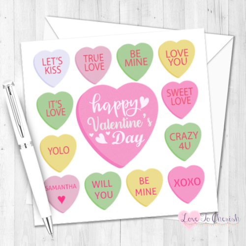 Candy Hearts Personalised Valentine's Day Card