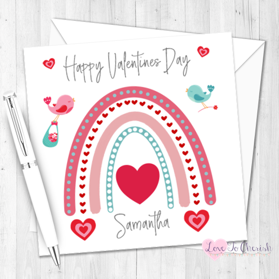 Rainbow Love Birds Personalised Valentine's Day Card