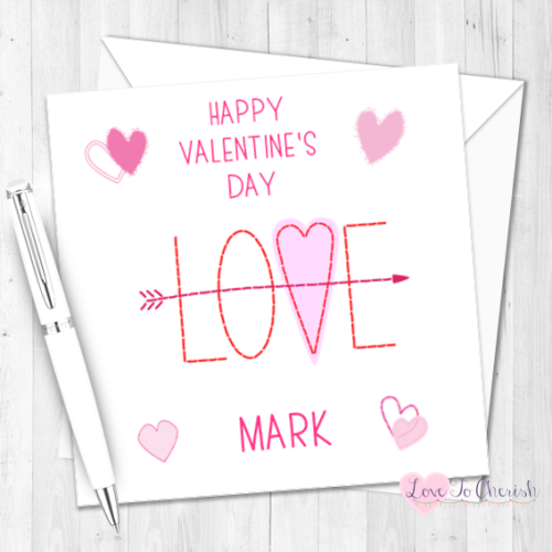 Love Arrow Personalised Valentine's Day Card