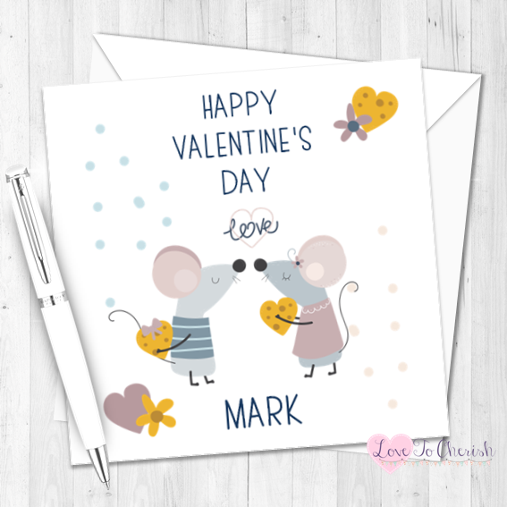 Cute Mice Personalised Valentine's Day Card
