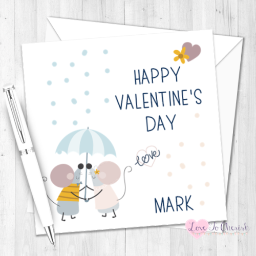 Cute Mice Under Umbrella Personalised Valentine's Day Card