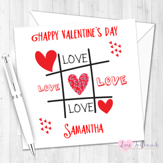 Love Tic-Tac-Toe Personalised Valentine's Day Card