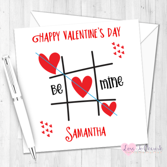 Be Mine Tic-Tac-Toe Personalised Valentine's Day Card