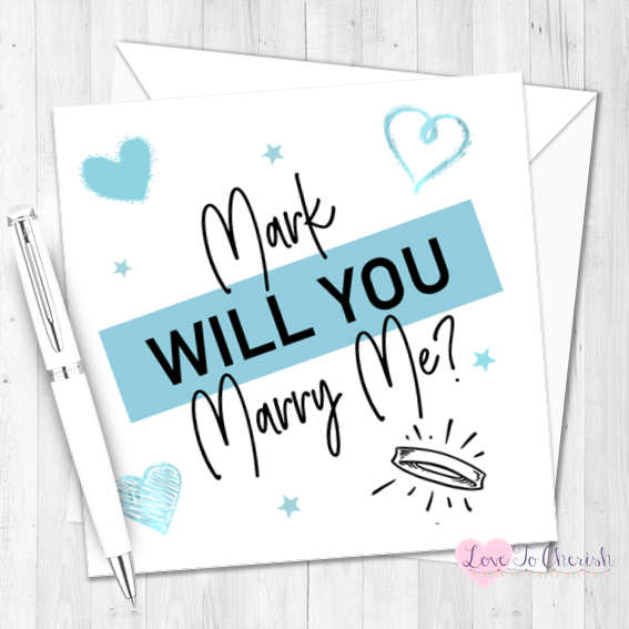 Will You Marry Me? Blue Personalised Valentine's Day Card