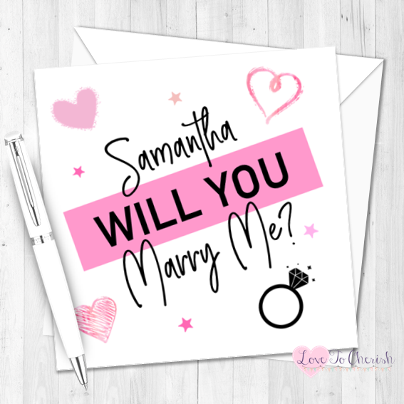 Will You Marry Me? Pink Personalised Valentine's Day Card
