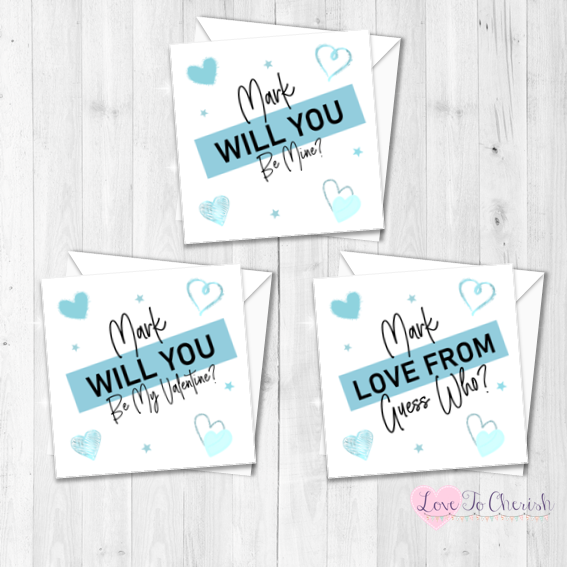 Blue Personalised Valentine's Day Card - Be Mine, Be My Valentine, Guess Wh
