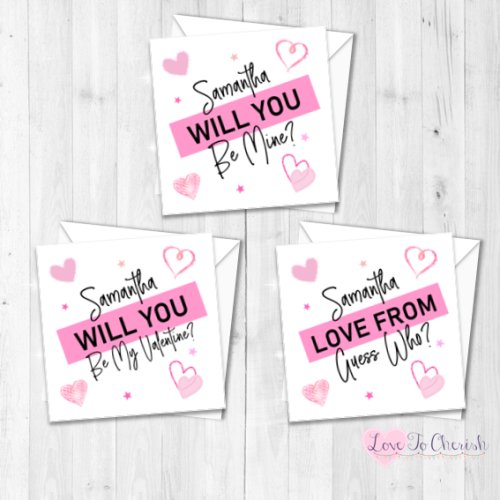 Pink Personalised Valentine's Day Card - Be Mine, Be My Valentine, Guess Wh