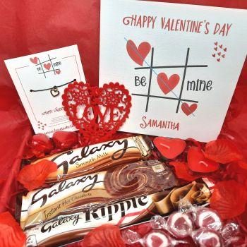 Mini Valentine's Day Box - Personalised Card, Wish Bracelet & Treats - Letterbox Gift