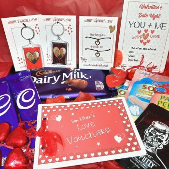 Valentine's Date Night Box - Personalised Photo Keyrings, Wish Bracelet Duo & Pamper Treats - Letterbox Gift