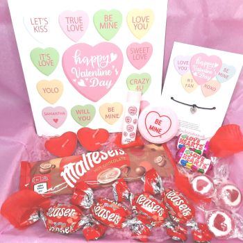 Candy Hearts Valentine's Day Box - Personalised Card, Wish Bracelet & Treats - Letterbox Gift