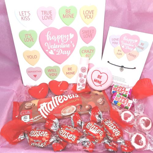 </001>Candy Hearts Valentine's Day Box - Personalised Card, Wish Bracelet &