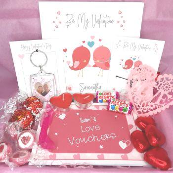 Valentine's Day Box - Personalised Card, Personalised Photo Keyring, Wish Bracelet & Treats - Letterbox Gift