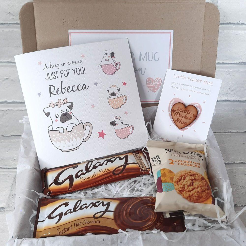 Hug In A Mug - Pocket Hug, Personalised Card & Galaxy Hot Chocolate & Choco