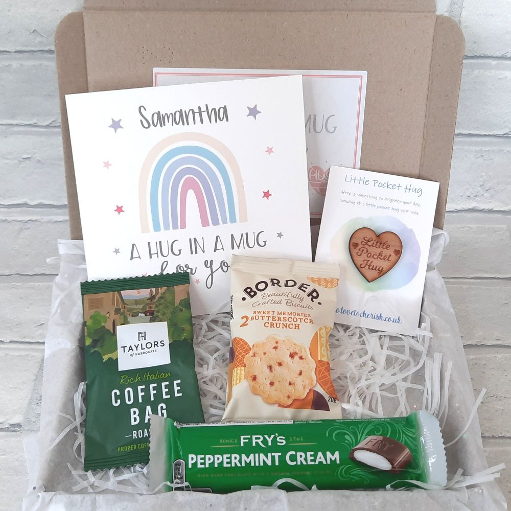 Hug In A Mug - Pocket Hug, Personalised Card, Taylors Coffee & Frys Chocola
