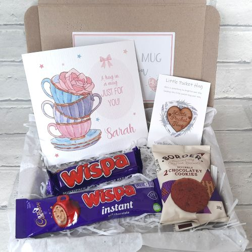 Hug In A Mug - Pocket Hug, Personalised Card, Hot Chocolate & Chocolate Box