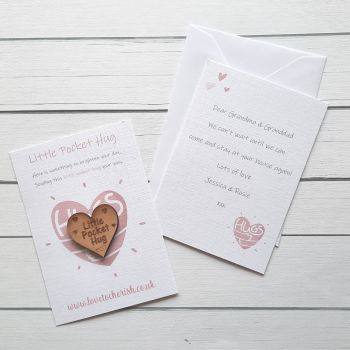 Pink Hugs Wooden Pocket Hug with optional Personalised Card
