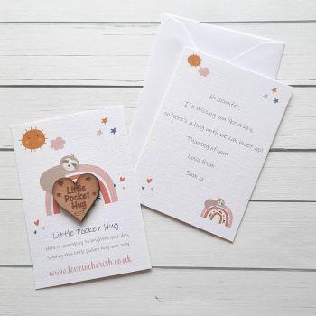 Sloth & Rainbow Wooden Pocket Hug with optional Personalised Card