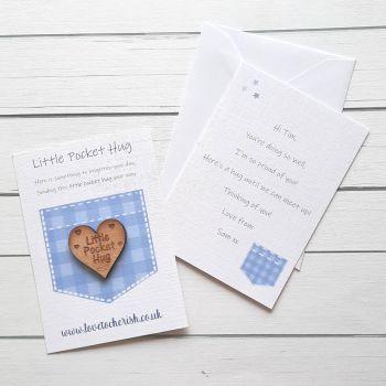 Pocket Design Wooden Pocket Hug with optional Personalised Card