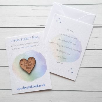 Pastel Colours Wooden Pocket Hug with optional Personalised Card