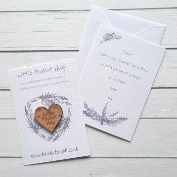 Purple Flowers Wooden Pocket Hug with optional Personalised Card