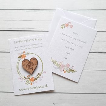 Yellow Flowers Wooden Pocket Hug with optional Personalised Card