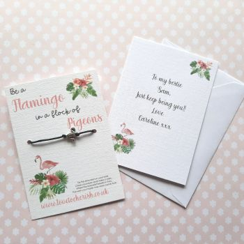 Be A Flamingo Wish Bracelet with Personalised Message Card Option