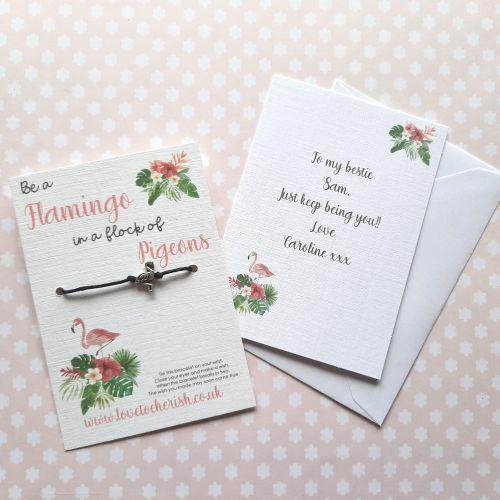 Flamingo Wish Bracelet with Personalised Message Card Option