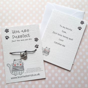You Are Purrfect Cat Wish Bracelet with Personalised Message Card Option