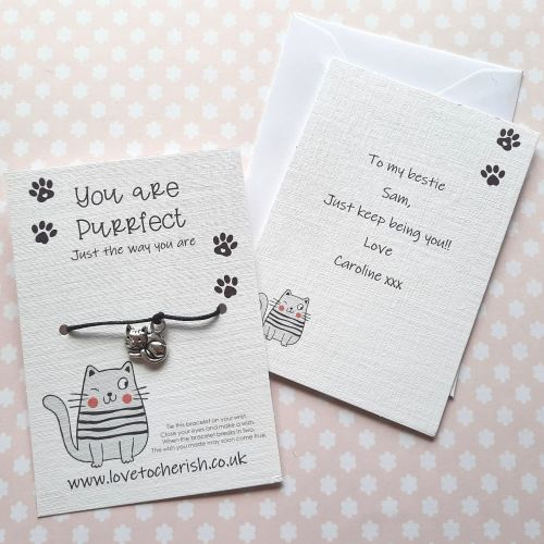 You're Purrfect Cat Wish Bracelet with Personalised Message Card Option