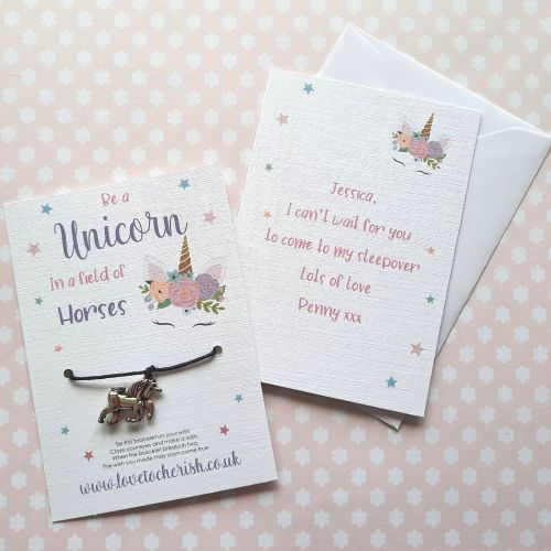Be A Unicorn In A Field Full Of Horses Wish Bracelet with Personalised Mess