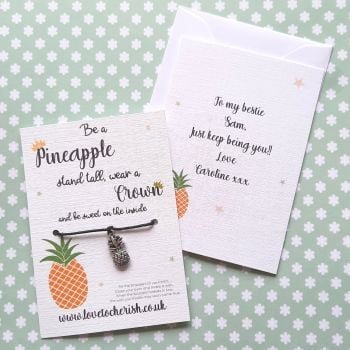 Be A Pineapple Wish Bracelet with Personalised Message Card Option