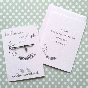Feathers Appear When Angels Are Near Wish Bracelet with Personalised Message Card Option