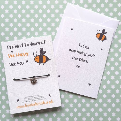 Bee Kind To Yourself Wish Bracelet with Personalised Message Card Option