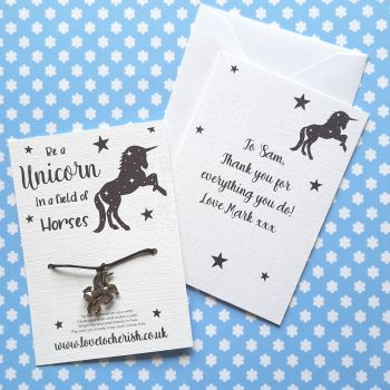 Be A Unicorn Wish Bracelet with Personalised Message Card Option