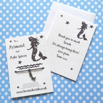 Be A Mermaid Wish Bracelet with Personalised Message Card Option