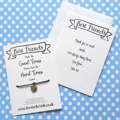 Best Friends Make The Good Times Better Wish Bracelet with Personalised Mes