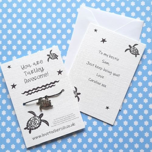 You Are Turtley Awesome! Wish Bracelet with Personalised Message Card Optio