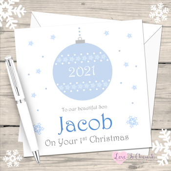 Blue Bauble 2021 Personalised Christmas Card