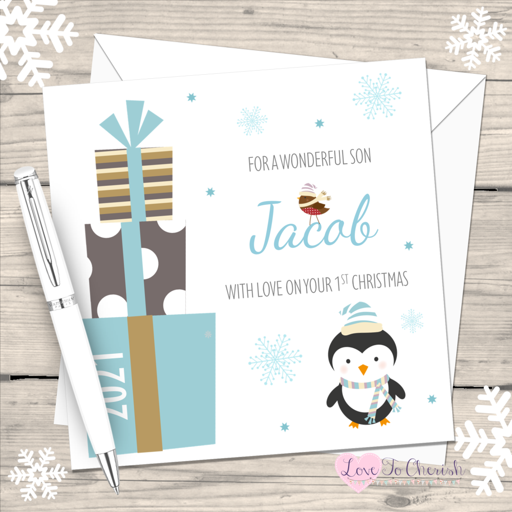 Boy's Blue Penguin & Gifts 2021 Personalised 1st Christmas Card