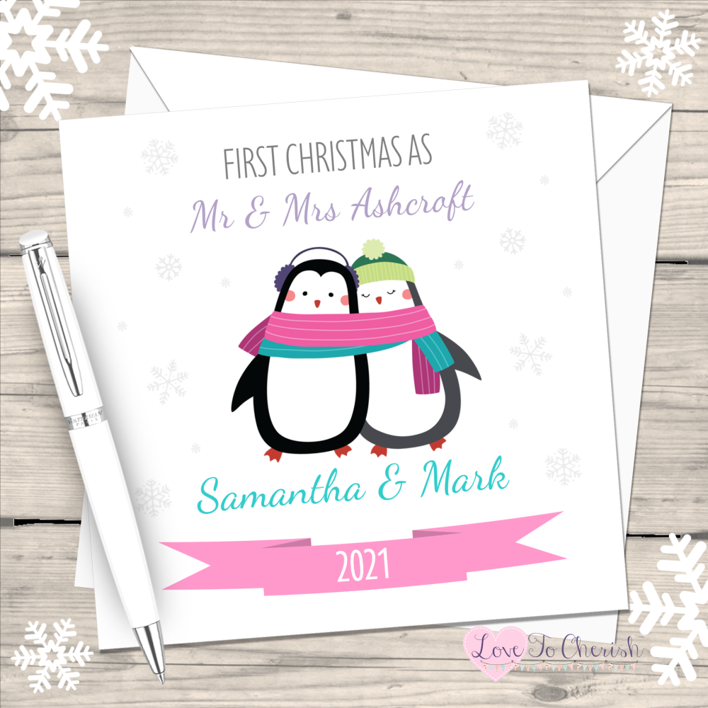 Cute Penguin First Christmas as Mr & Mrs 2021 Personalised Christmas Card (