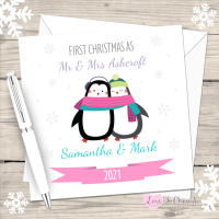 Cute Penguin First Christmas as Mr & Mrs 2021 Personalised Christmas Card (Mr & Mr or Mrs & Mrs)