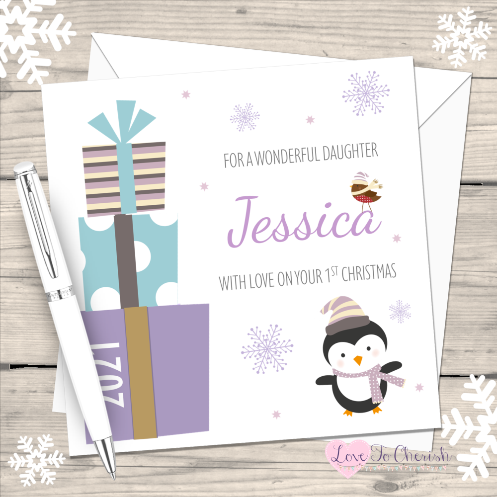 Girl's Lilac Penguin & Gifts 2021 Personalised 1st Christmas Card