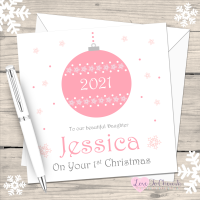 Pink Bauble 2021 Personalised Christmas Card